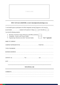Host Application Form for Work Integrated Learning Programme